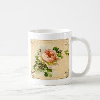 Color de rosa rosado del Victorian Tazas De Café