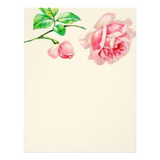 Color de rosa rosado del vintage membrete a diseño