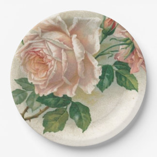 Color de rosa rosado del vintage plato de papel de 9 pulgadas