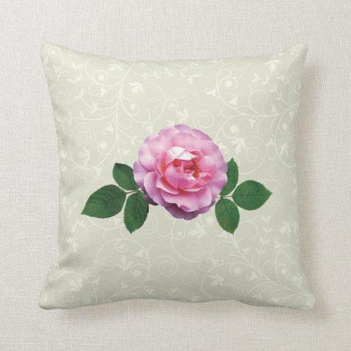 Color de rosa rosado delicado cojín decorativo