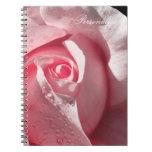 Color de rosa rosado delicado con rocío libretas
