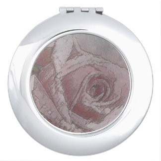 Color de rosa rosado dorada - espejo compacto redo