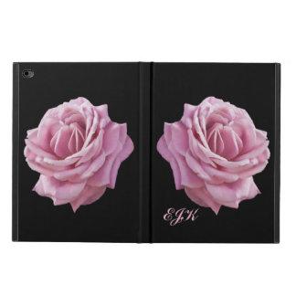 Color de rosa rosado en el negro, monograma
