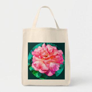 Color de rosa rosado enmarcada bolsa tela para la compra
