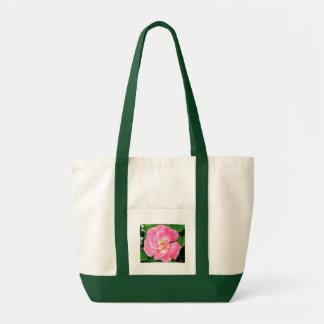 Color de rosa rosado enorme de la belleza singular bolsas lienzo