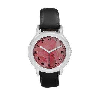 Color de rosa rosado etéreo relojes de pulsera