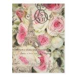 Color de rosa rosado floral de París del vintage Postal