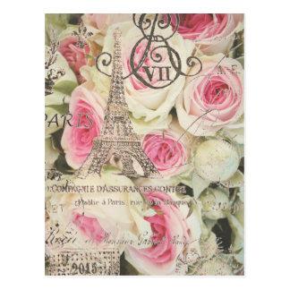 Color de rosa rosado floral de París del vintage Postales