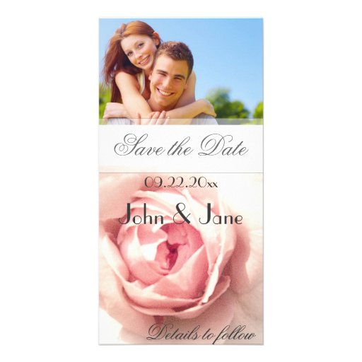 """Color de rosa rosado/foto """"reserva la fecha """" tarjeta personal"""