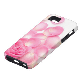 Color de rosa rosado hermoso con los pétalos funda para iPhone 5 tough