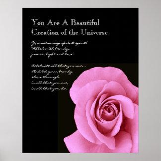 Color de rosa rosado hermoso de la inspiración posters