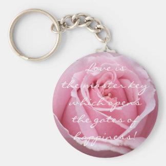 Color de rosa rosado llavero redondo tipo pin