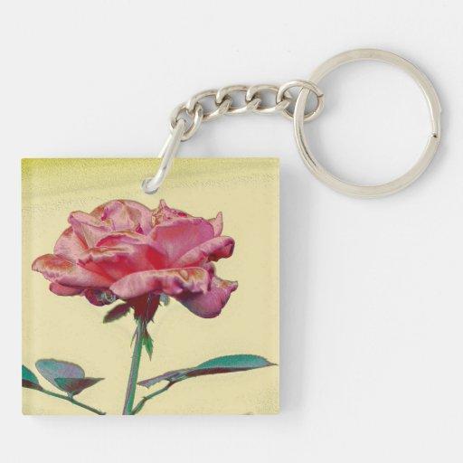 Color de rosa rosado llaveros