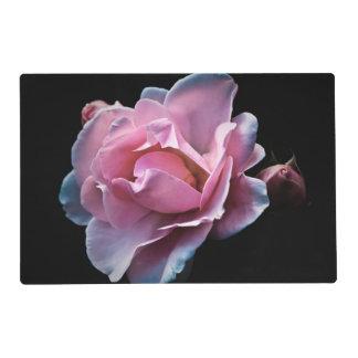 Color de rosa rosado magnífico en negro tapete individual