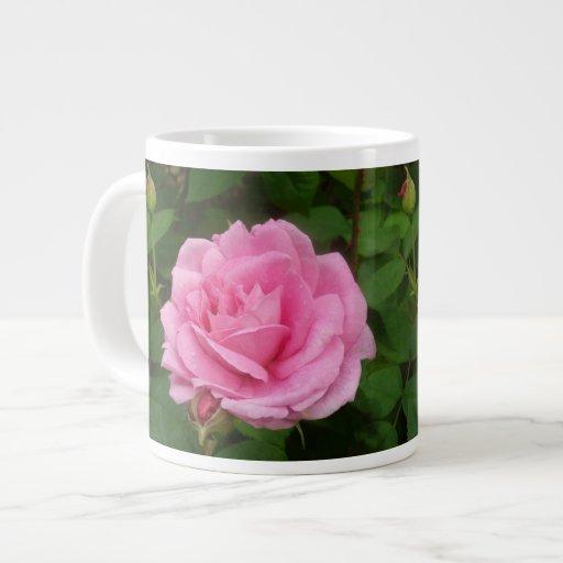 Color de rosa rosado magnífico taza grande