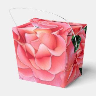 Color de rosa rosado mullido cajas para detalles de boda