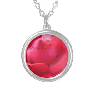 Color de rosa rosado oscuro collar plateado