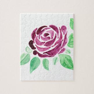 Color de rosa rosado oscuro de la acuarela hermosa puzzle