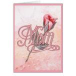Color de rosa rosado para la mamá felicitacion