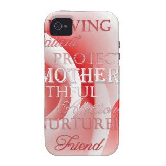 Color de rosa rosado para la mamá iPhone 4 funda