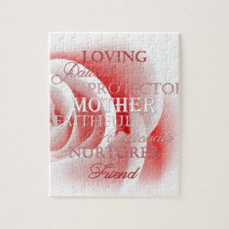 Color de rosa rosado para la mamá rompecabeza con fotos