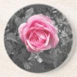 Color de rosa rosado posavasos para bebidas