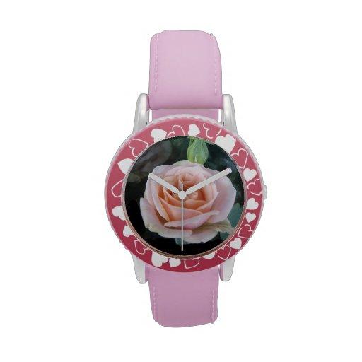 Color de rosa rosado relojes