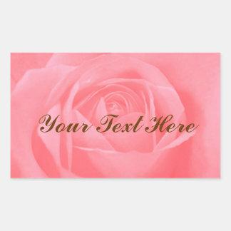 Color de rosa rosado suave pegatina rectangular