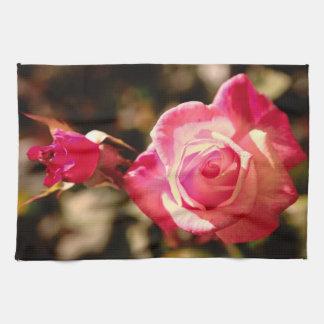 Color de rosa rosado toalla de mano
