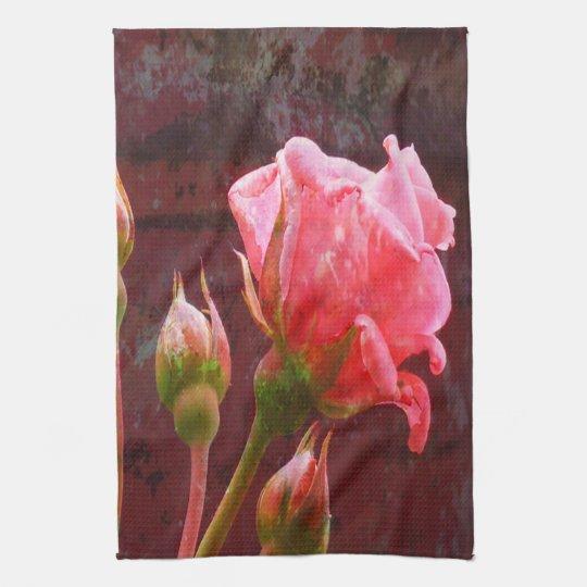 Color de rosa rosado toallas de mano