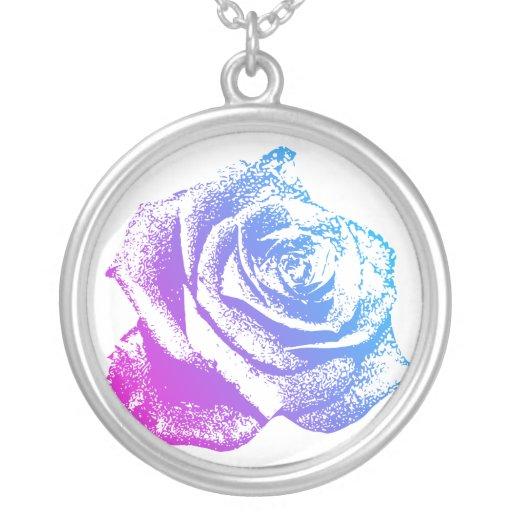 Color de rosa rosado y azul colgantes personalizados