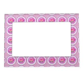 Color de rosa rosado y cochecillo marcos magnéticos de fotos