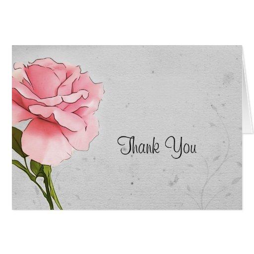 Color de rosa rosados en gris le agradecen cardar tarjeta