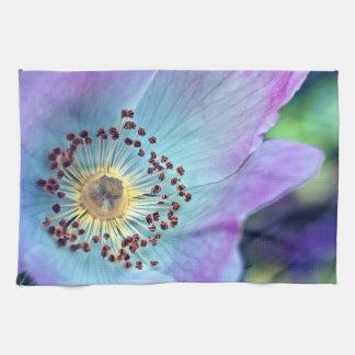 Color de rosa salvaje azul y púrpura toallas de cocina