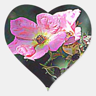 Color de rosa salvaje de Dakota del Norte Pegatina En Forma De Corazón