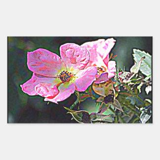 Color de rosa salvaje de Dakota del Norte Pegatina Rectangular
