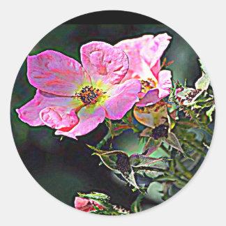 Color de rosa salvaje de Dakota del Norte Pegatina Redonda