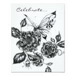 Color de rosa salvaje y mariposa invitación 10,8 x 13,9 cm