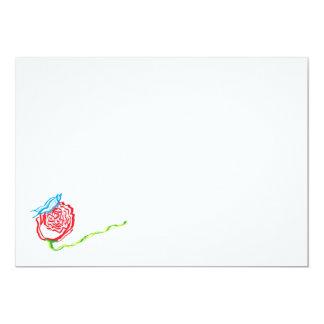 """Color de rosa simple con las invitaciones de la invitación 5"""" x 7"""""""