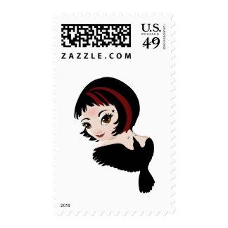 Color de rosa timbre postal