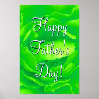 Color de rosa verde claro feliz del día de padre póster
