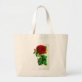 Color de rosa - vintage botánico bolsa tela grande