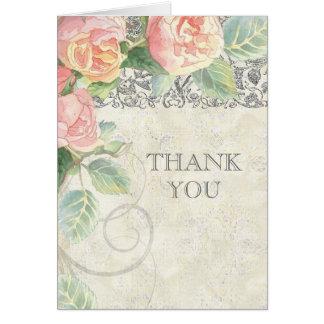 Color de rosa y de plata ingleses le agradecen las tarjeta pequeña