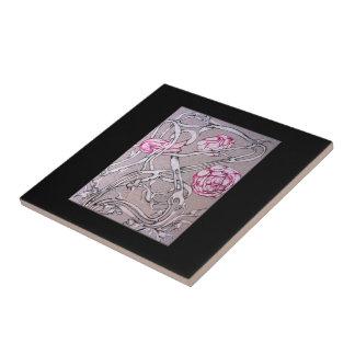 Color de rosa y espina en negro tejas  ceramicas