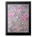 Color de rosa y espina, en negro libretas