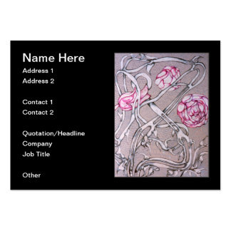 Color de rosa y espina, en negro tarjetas de visita grandes