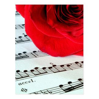 Color de rosa y música - amante de la música tarjeta postal