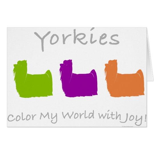 Color de Yorkies mi mundo Tarjeta De Felicitación
