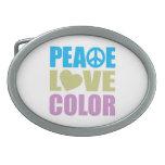 Color del amor de la paz hebillas cinturón ovales