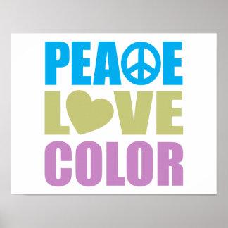 Color del amor de la paz poster
